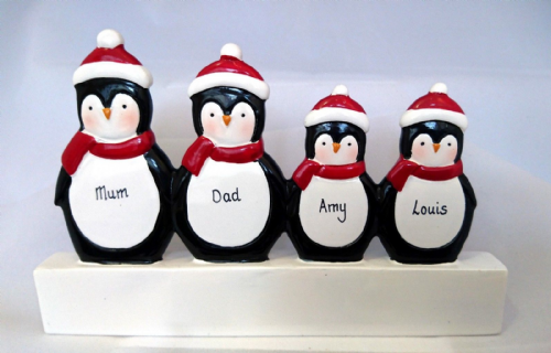 Penguin Family of 4 Mantle Decoration